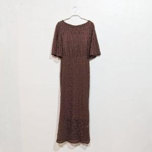 SHEIN バタフライスリーブレースフリットドレス Sサイズ ブラウン