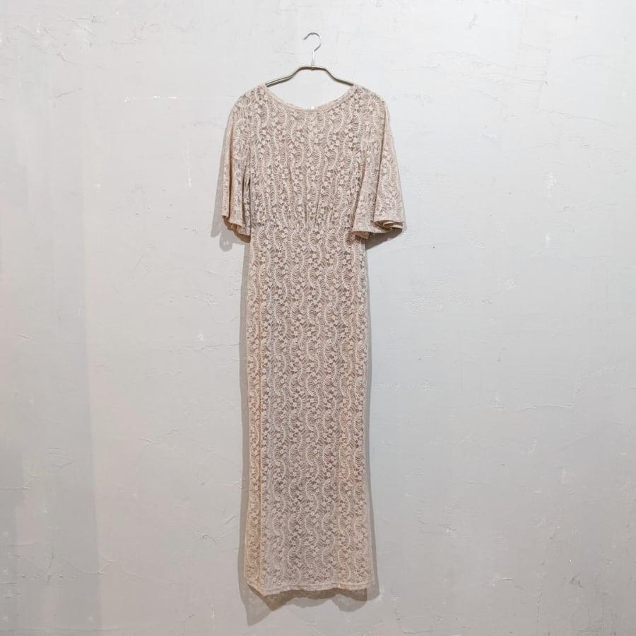 SHEIN バタフライスリーブレースフリットドレス Sサイズ ベージュ