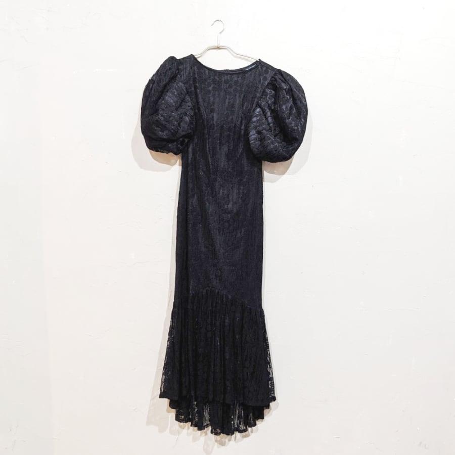 SHEIN マーメイドデザインパフスリーブドレス Sサイズ ブラック