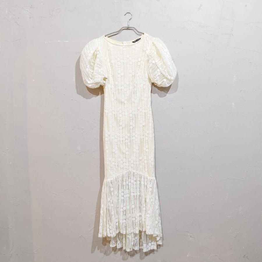 SHEIN マーメイドデザインパフスリーブドレス Sサイズ イエロー