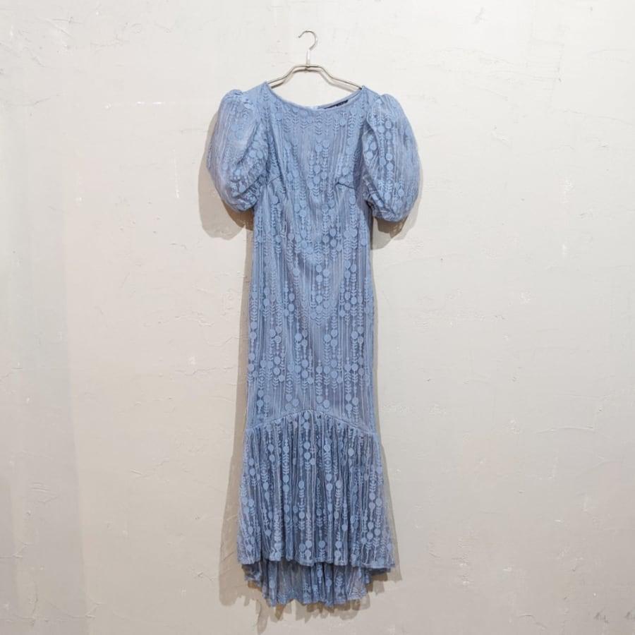 SHEIN マーメイドデザインパフスリーブドレス Sサイズ ブルー