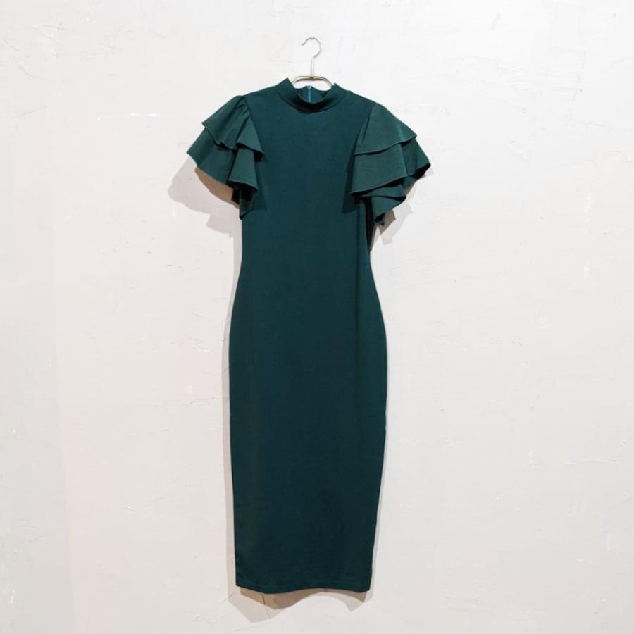 SHEIN レイヤードフラッタースリーブドレス Sサイズ グリーン