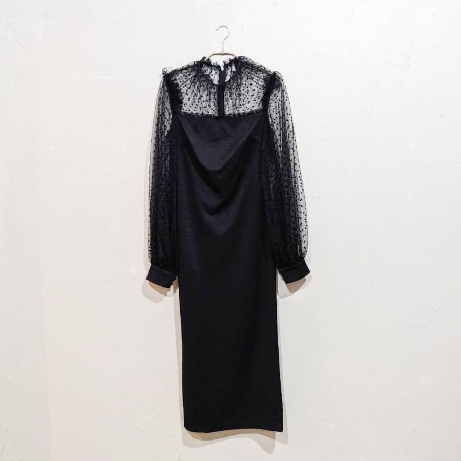 SHEIN ランタンスリーブドットチュールドレス Sサイズ ブラック