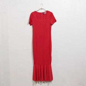 SHEIN スクエアネックマーメイドラインドレス Sサイズ レッド