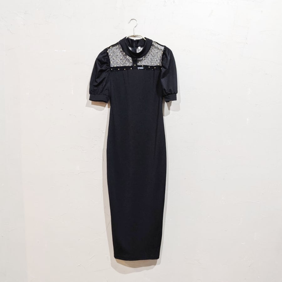 SHEIN パフスリーブシアードットドレス Sサイズ ブラック