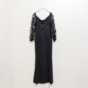 SHEIN ラメ入りシアースリーブマーメイドドレス Sサイズ ブラック