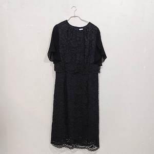 総レースフレアスリーブワンピースドレス 3Lサイズ ブラック