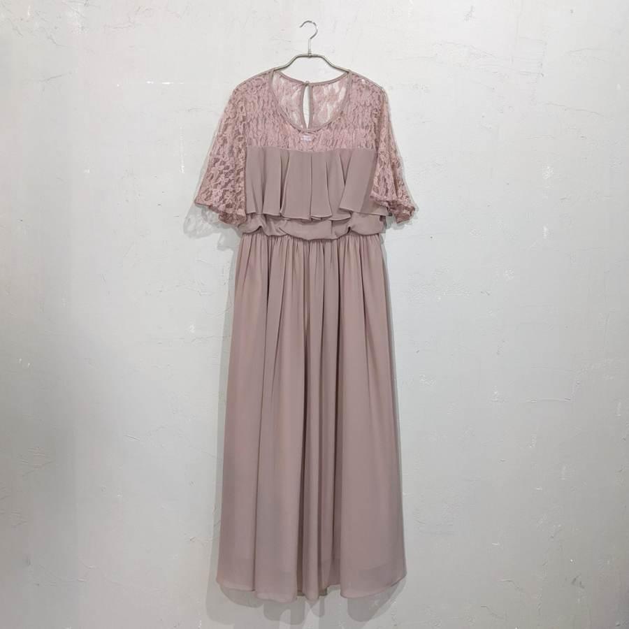 レース刺繍マキシ丈ワンピースドレス 3Lサイズ ベージュ