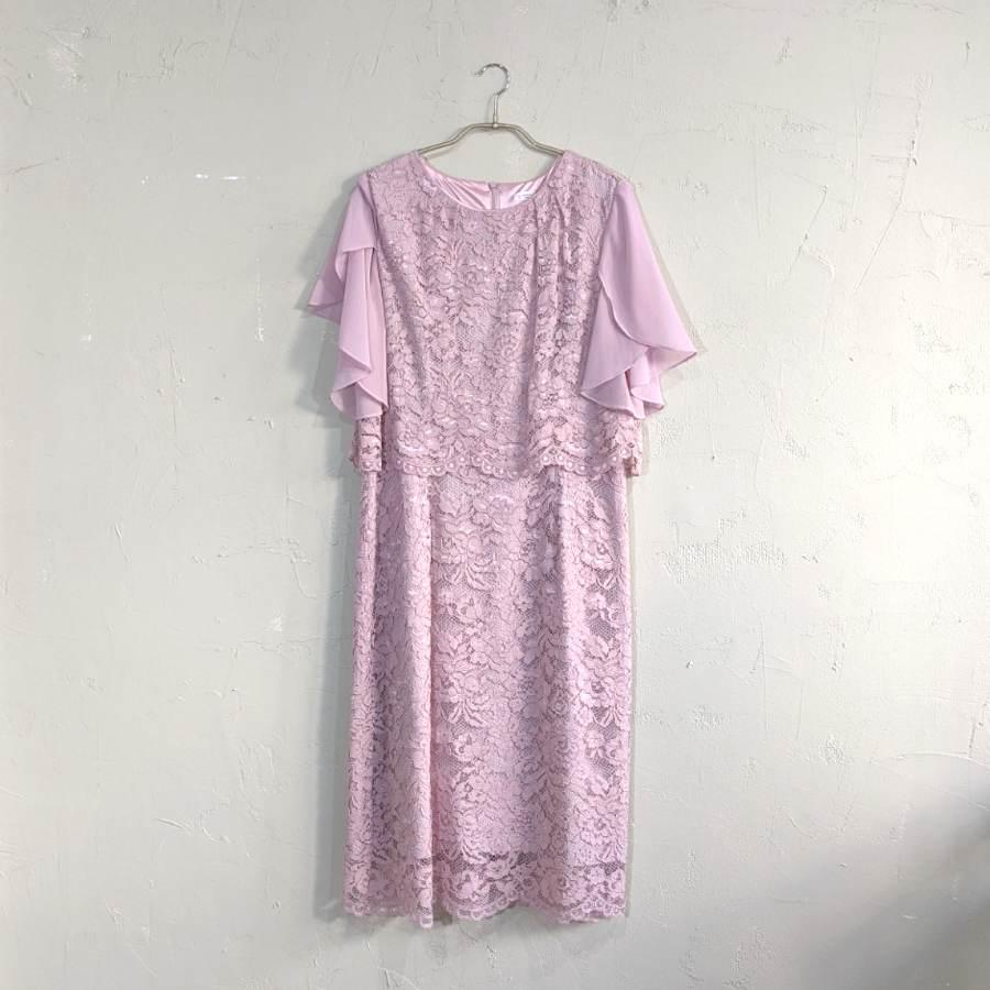 花柄レース細見えドレス 3Lサイズ ピンク