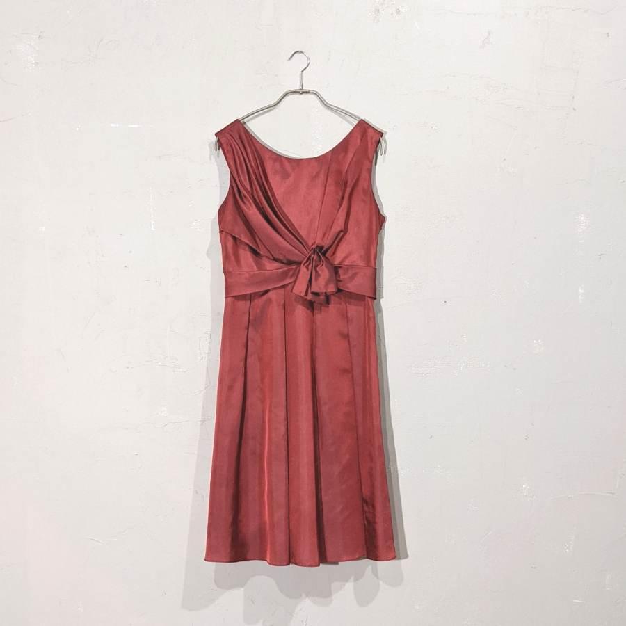 フロントリボンデザインサテンワンピースドレス Lサイズ レッド