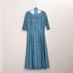 Rewde 総レースAラインワンピースドレス Lサイズ グリーン