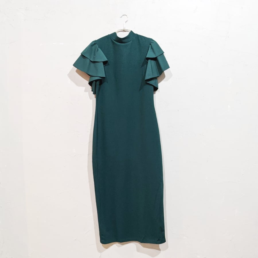 SHEIN レイヤードフラッタースリーブドレス Lサイズ グリーン