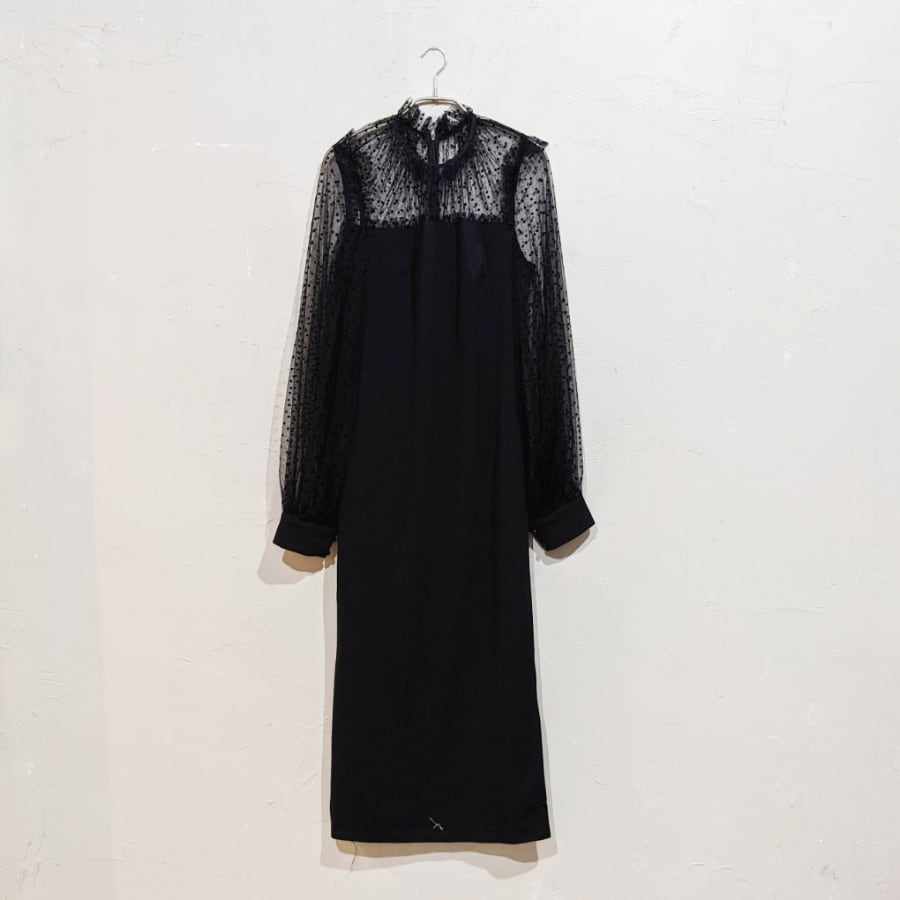 SHEIN ランタンスリーブドットチュールドレス Lサイズ ブラック
