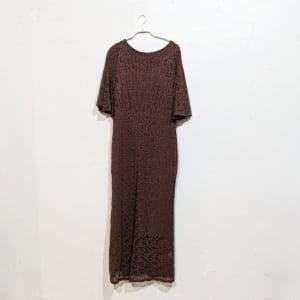 SHEIN バタフライスリーブレースフリットドレス Lサイズ ブラウン