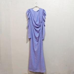 SHEIN ドレープデザインパフスリーブドレス Lサイズ パープル