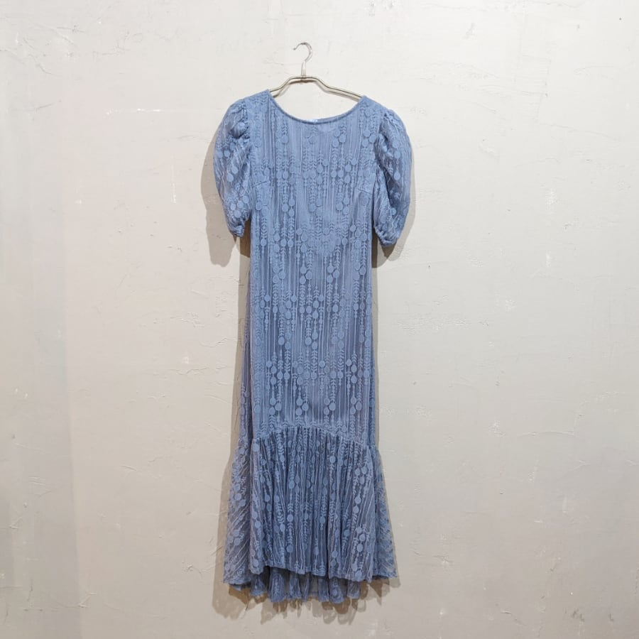 SHEIN マーメイドデザインパフスリーブドレス Lサイズ ブルー