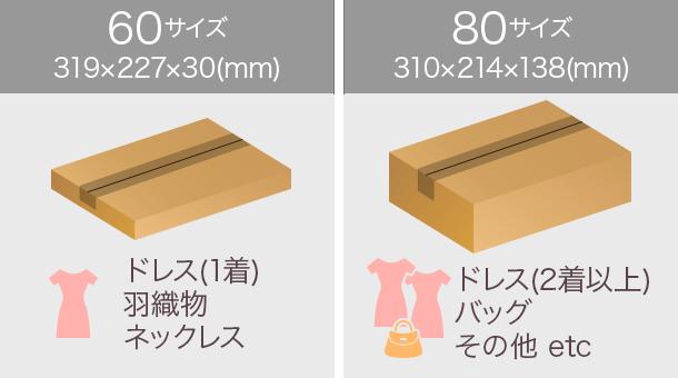箱のサイズは60サイズ(319×227×30(単位はミリメートル))もしくは80サイズ(310×214×138(単位はミリーメートル))でお届け。60サイズはドレス1着、羽織物、ネックレスのお届けで使用。80サイズはドレス2着、バッグ、その他のお届けで使用