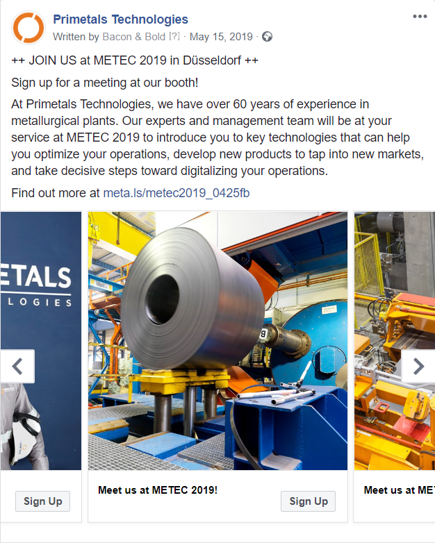 Screenshot Facebook Ad Primetals