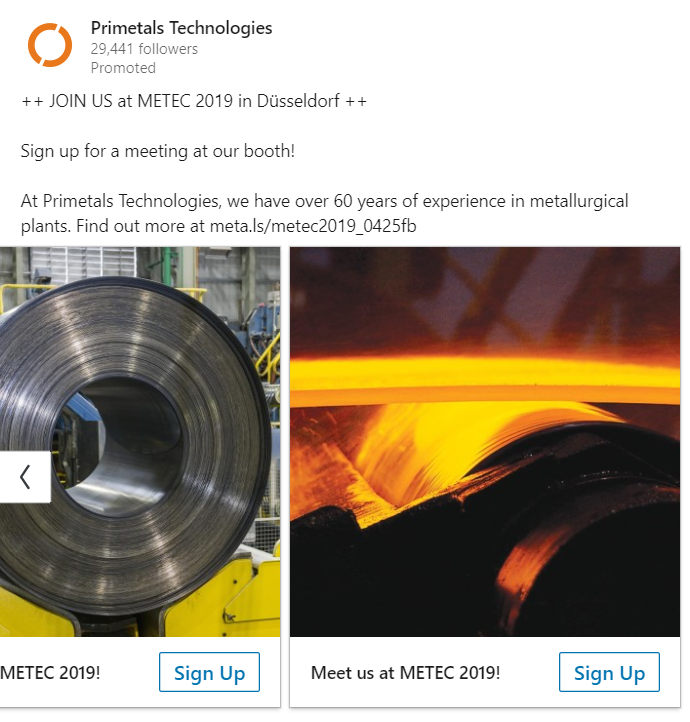 Screenshot LinkedIn Ad Primetals