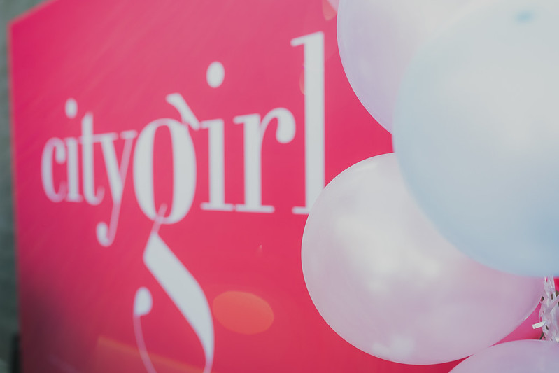 City Girl logo with white balloons