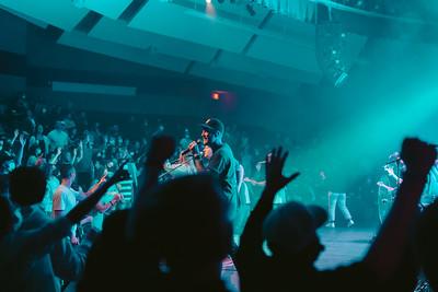 worship team on stage singing at church in omaha nebraska