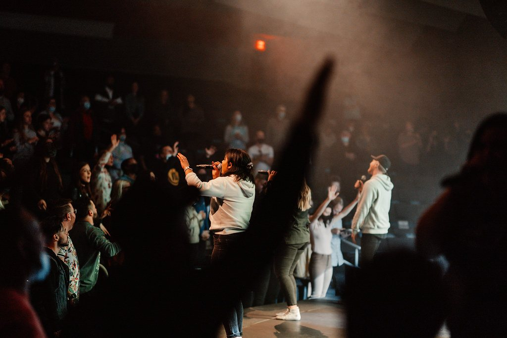 Christian church service with live music and passionate worship