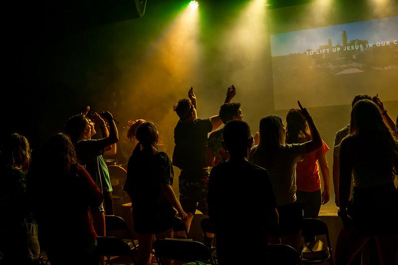 youth students jumping and worshiping at church in omaha nebraska