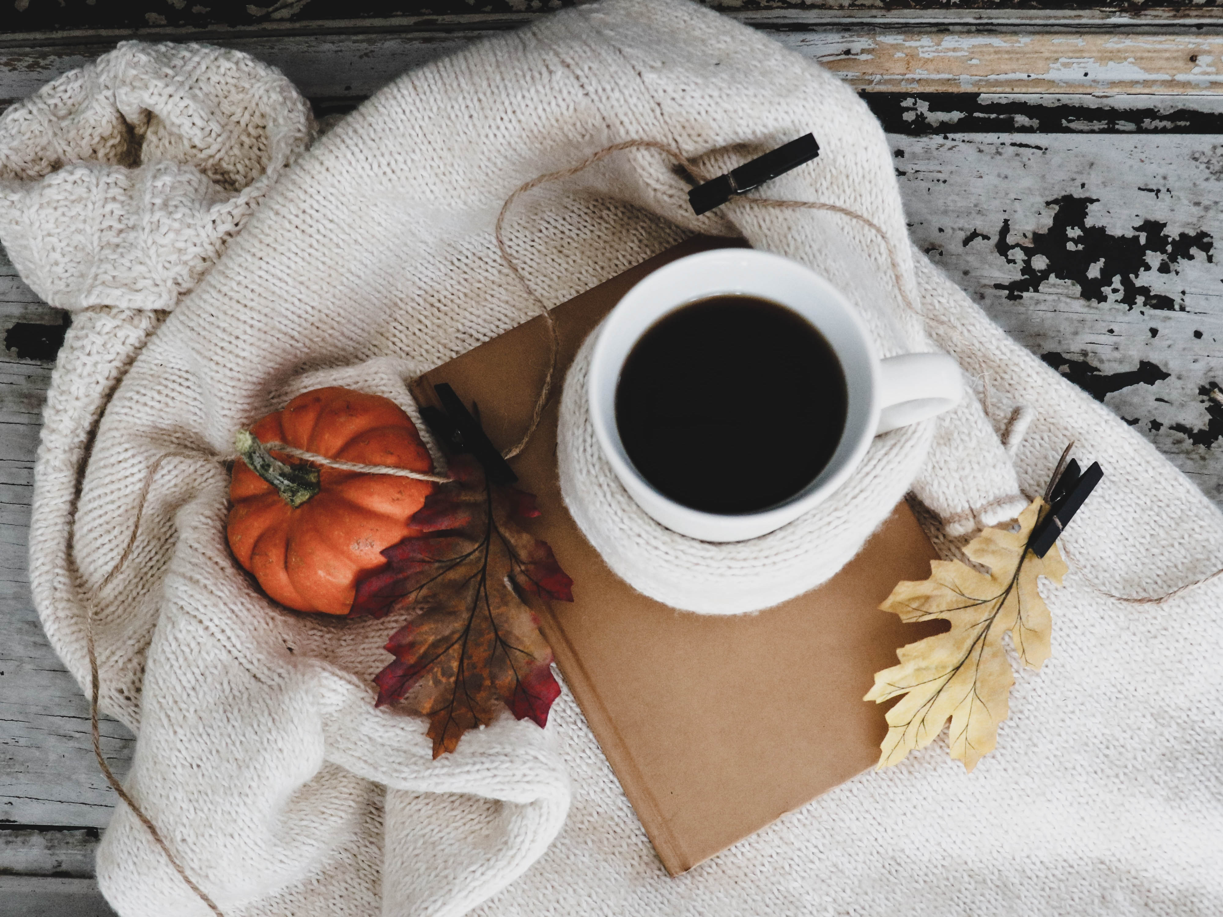 coffee and fall decor