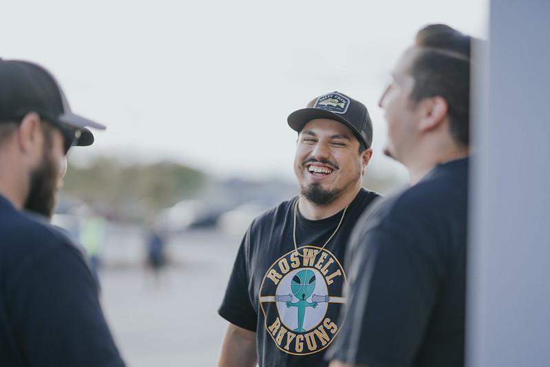 men laughing outside of church in omaha nebraska