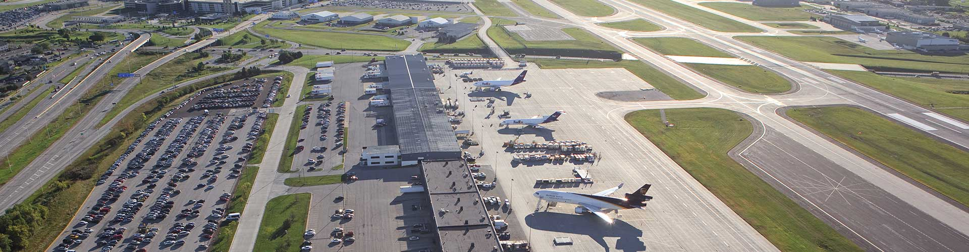 Aerial view of cargo planes at MKE airport