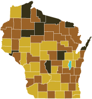 Map showing 2040 projected percentages of people 65 years and older by Wisconsin county