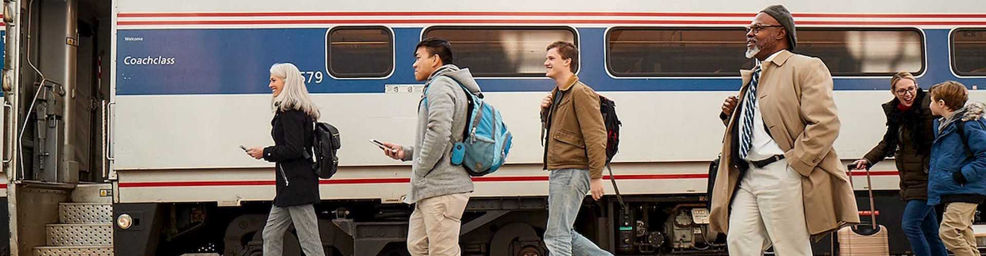 Passengers de-boarding Amtrak Hiawatha train in Wisconsin