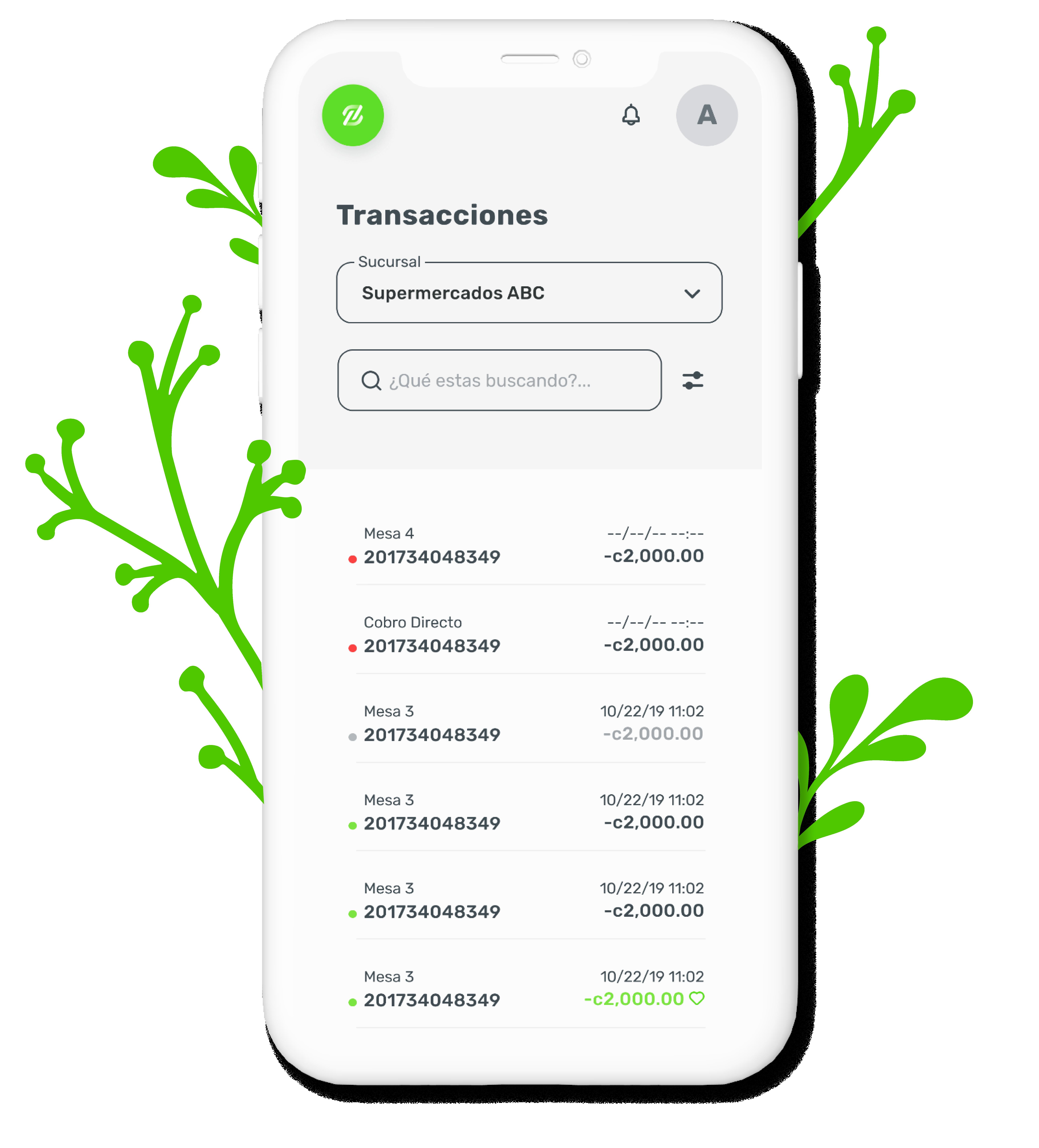 Imagen de una pantalla de nuestra aplicación, tiene hojas verdes para mostrar nuestro compromiso ambiental