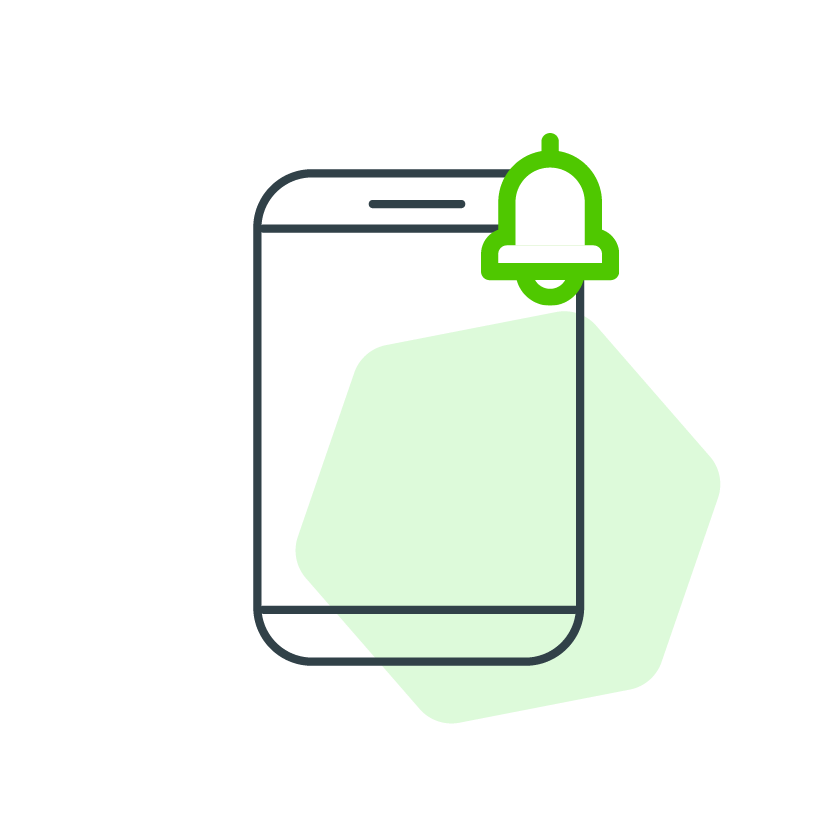 Dibujo de celular con una campana de notificación