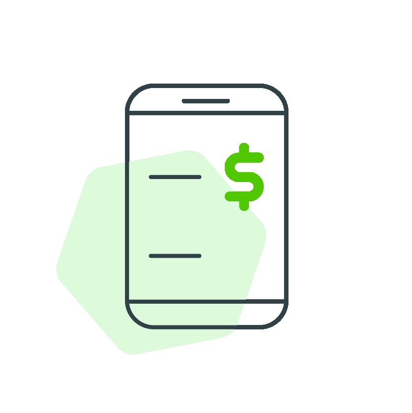 Dibujo de celular con signo de dolar