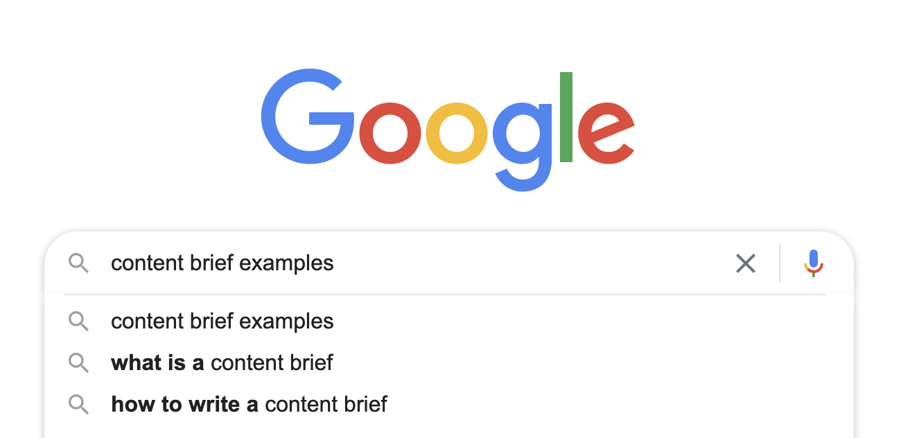 Google search bar automatically suggesting related queries to content brief examples