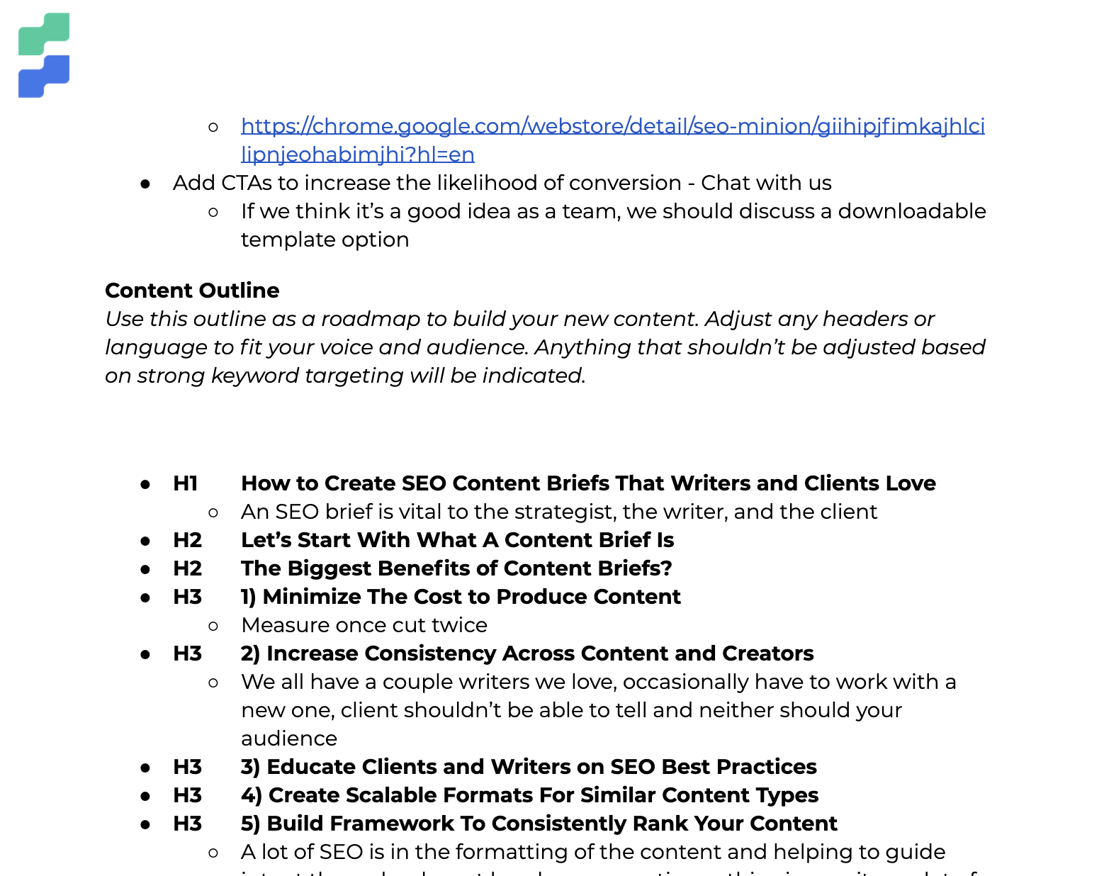 Screenshot of formatted brief outline