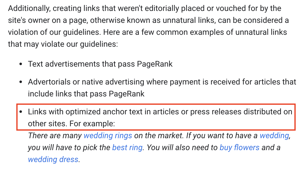 screenshot of google guidelines for links with optimized anchor texts in press resleases