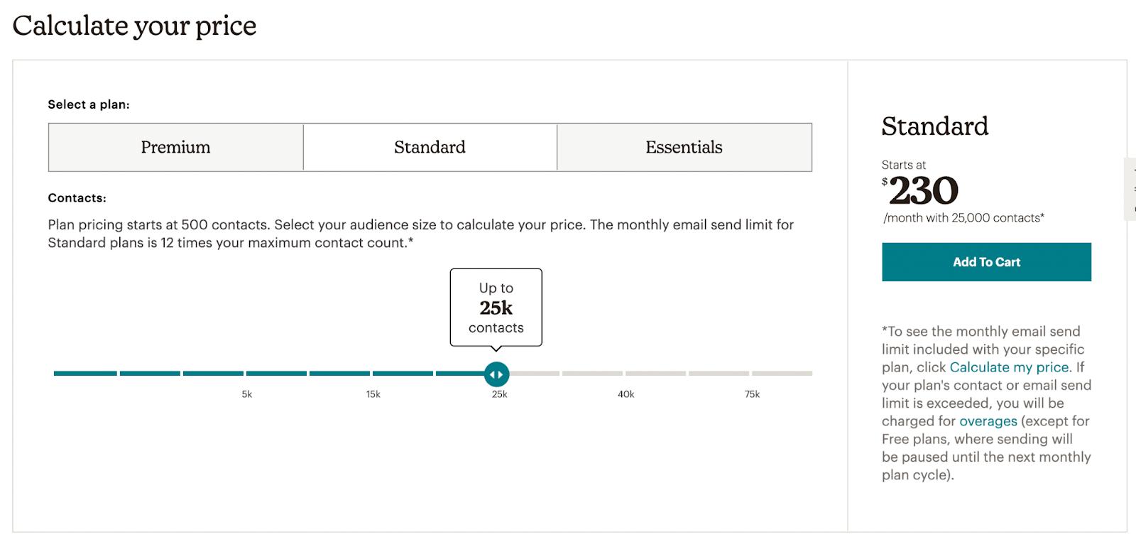 Mailchimp's pricing calculator screenshot