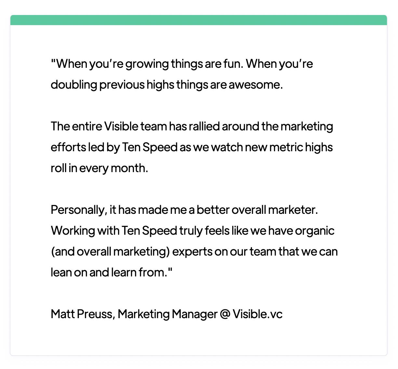 Customer quote for Ten Speed