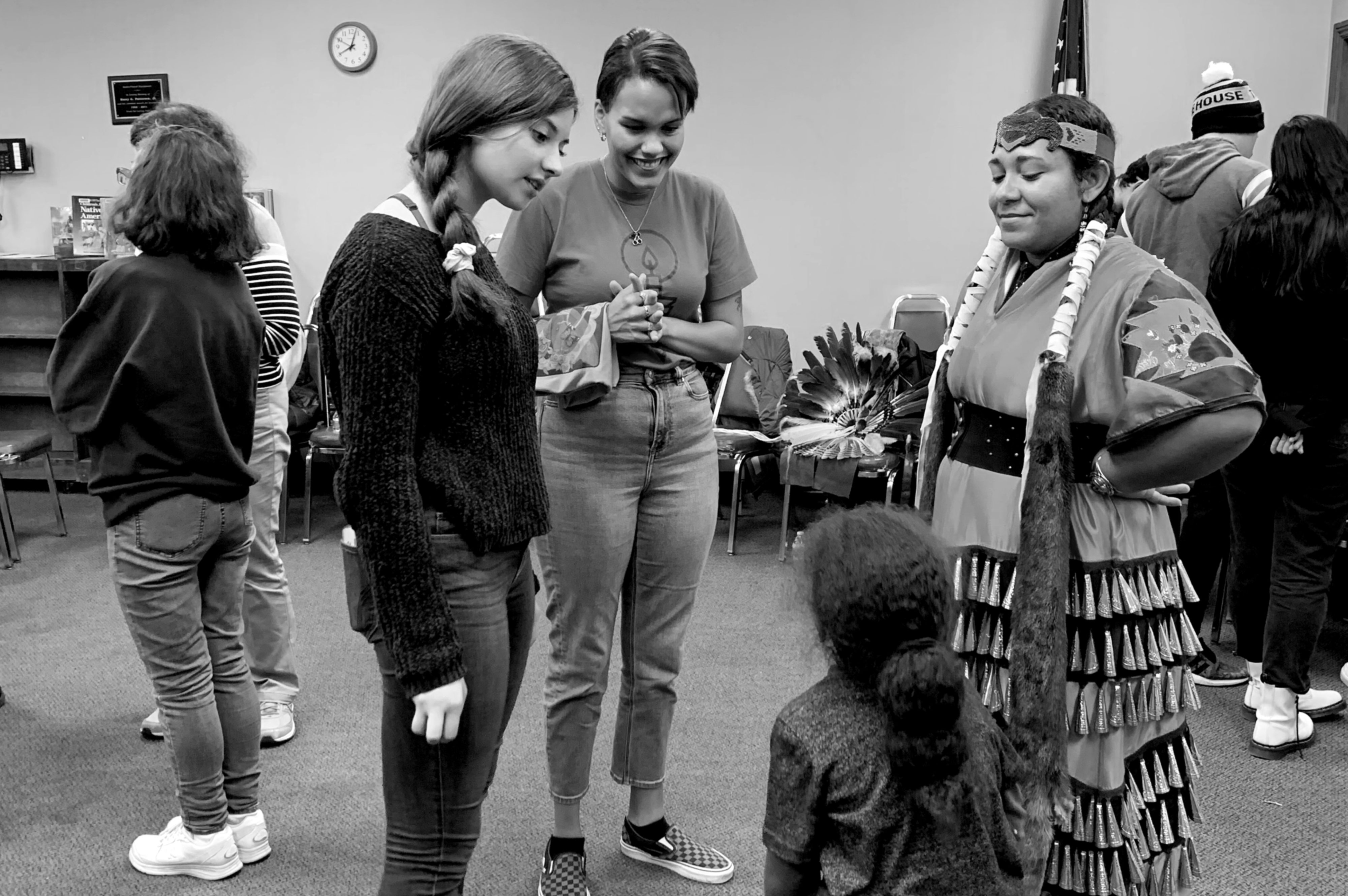Students attend an event honoring Indigenous Peoples' Day