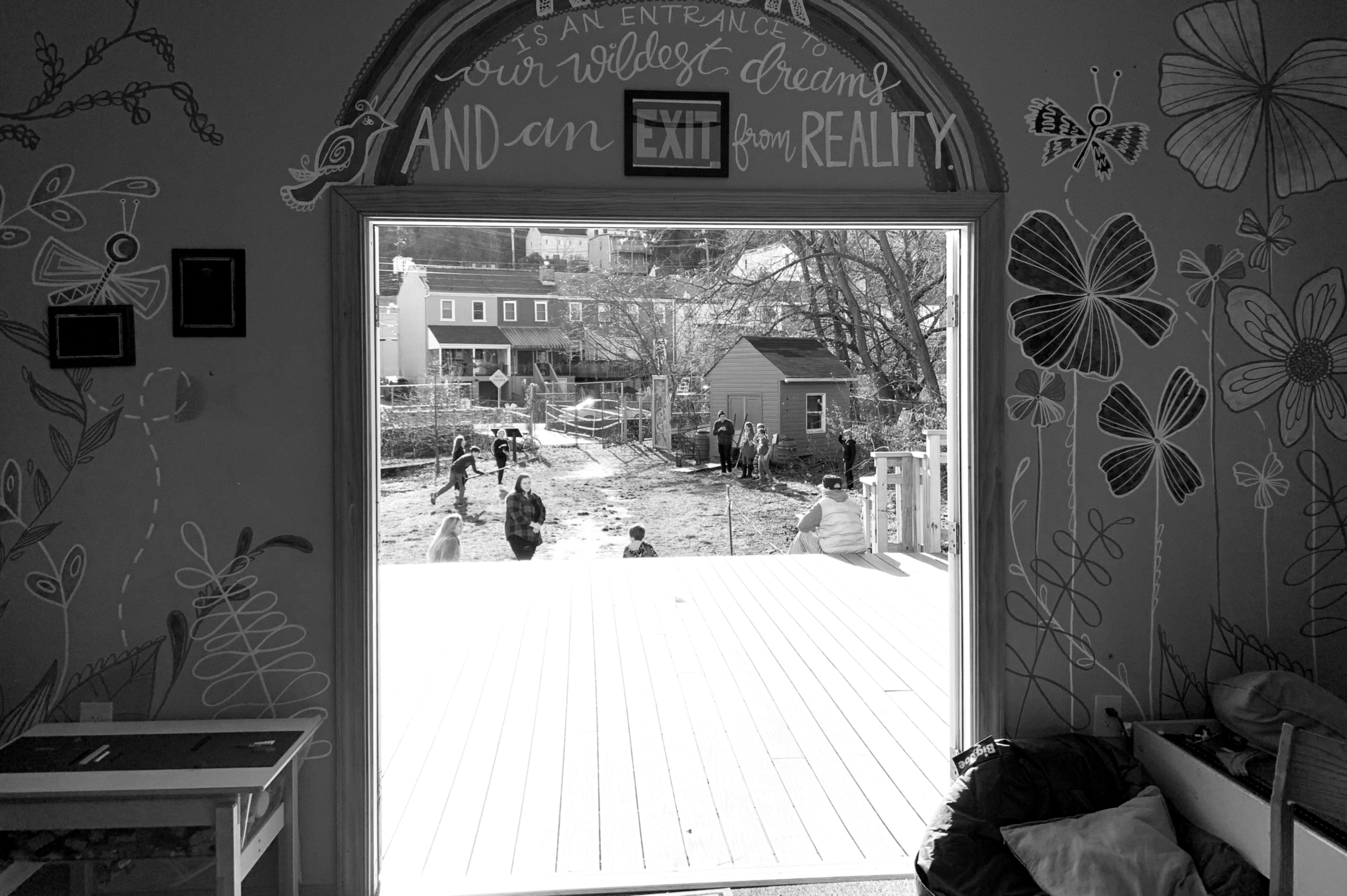 An open door at Millvale Public Library in Pittsburgh, PA
