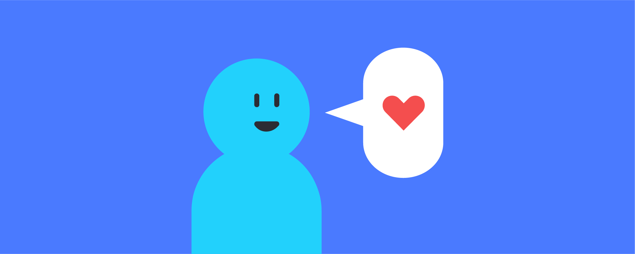 A person with a heart speech bubble