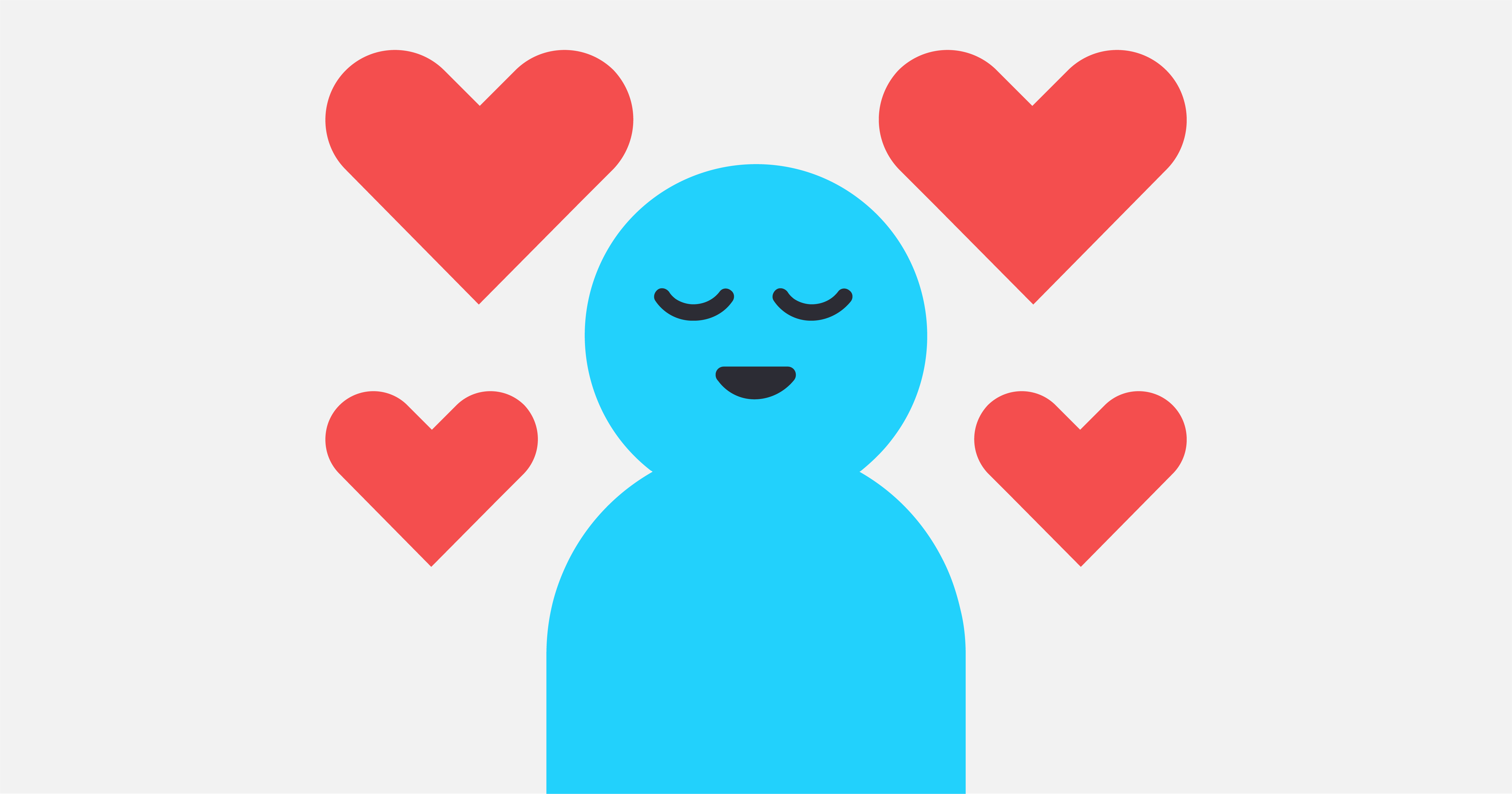 A graphic of a person with hearts around them, substituting a photo for Doug Khorey