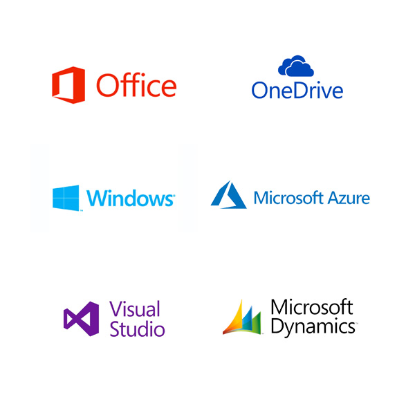 Logos for office one drive windows azure visual studio and microsoft dynamics