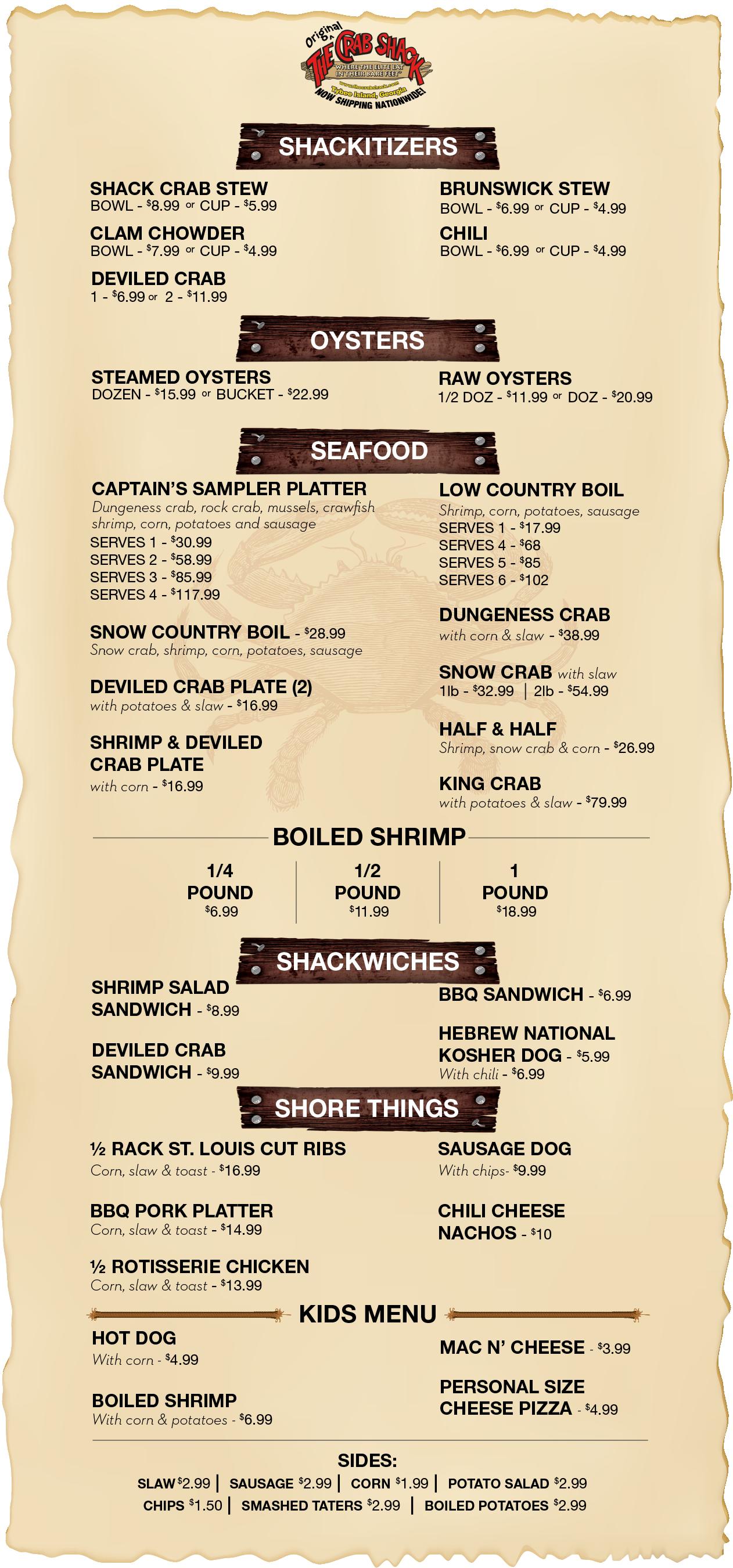 The Crab Shack Limited Covid-19 Menu