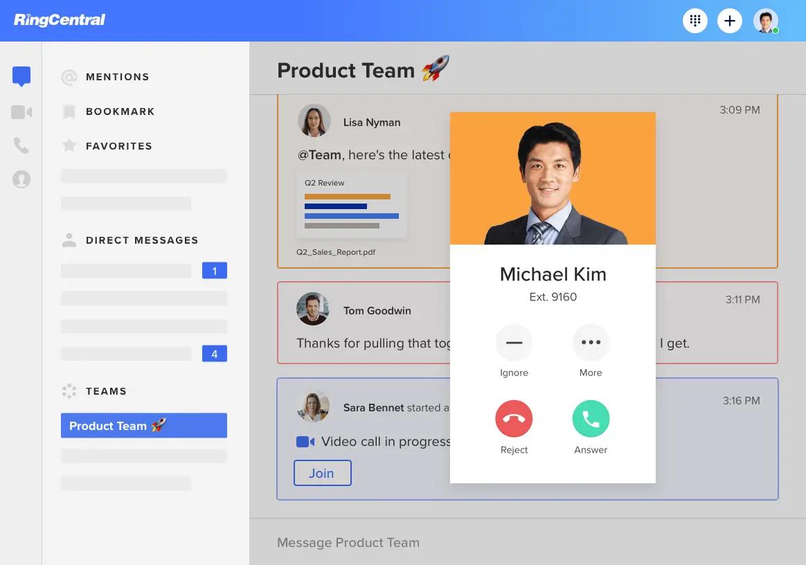 Ringcentral webapp screenshot incoming call