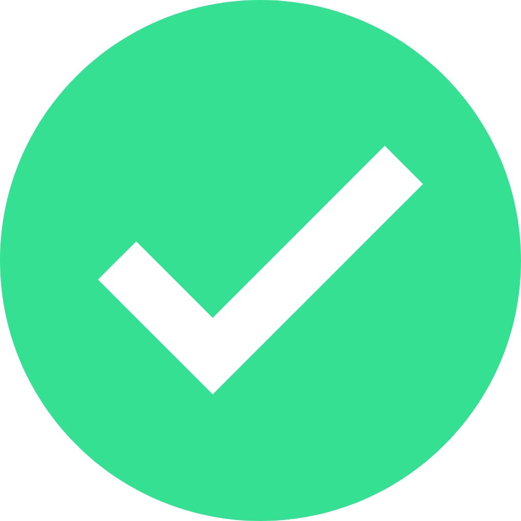 White check mark inside a green circle.