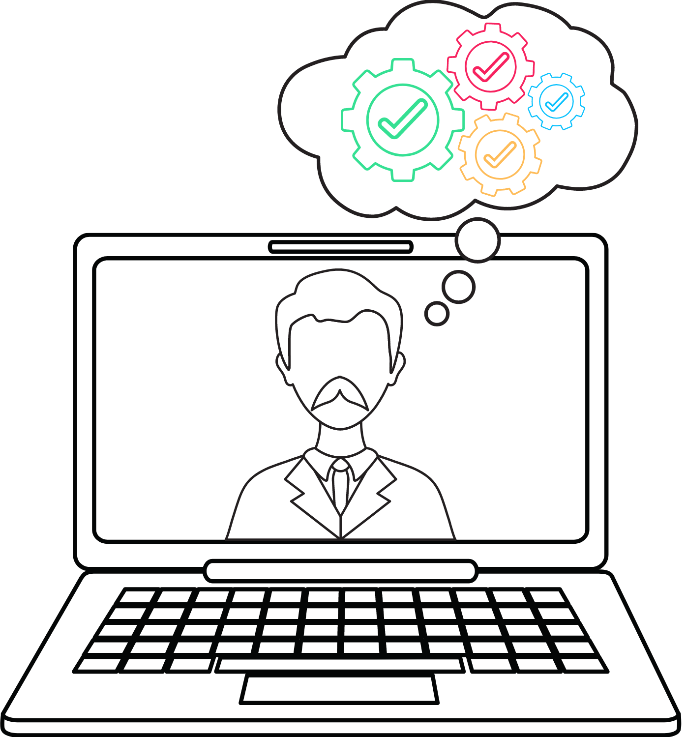 Drawing of a laptop with a mustached man in a suit inside the screen. The man has a thought bubble with 4 settings wheels inside the bubble. Each settings wheel contains a checkmark.