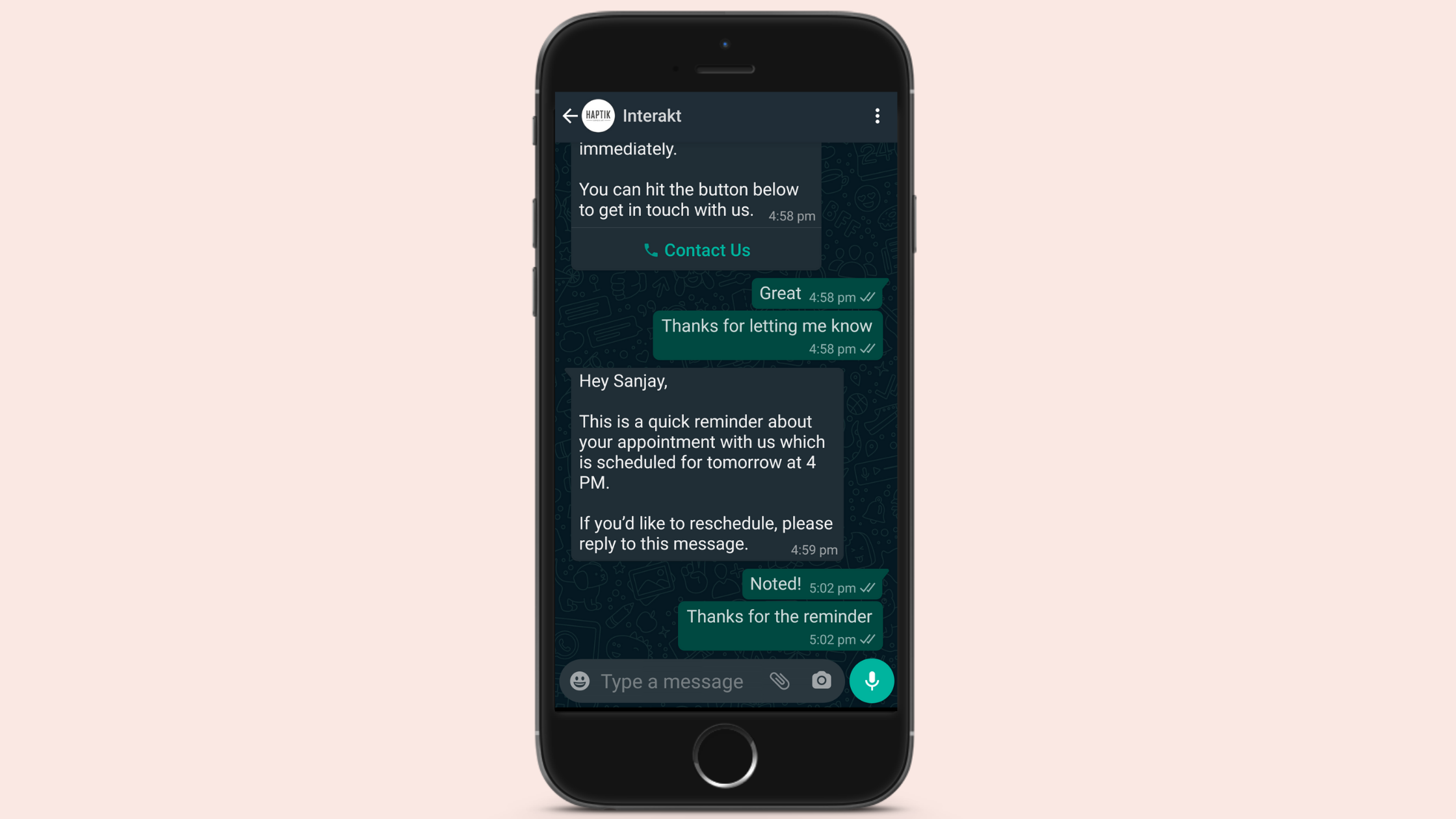 Appointment Update for WhatsApp Business Notification